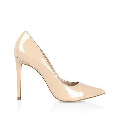 Nude pink patent leather court shoes from River Island. High heels / classic courts / womens shoes - flipped