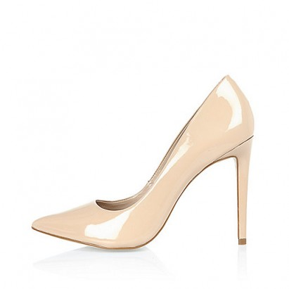 Nude pink patent leather court shoes from River Island. High heels / classic courts / womens shoes