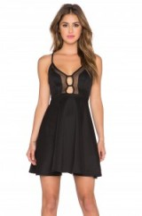 Oh My Love Mesh Heart Plunge Neck Dress in Black. Party fashion ~ strappy fit & flare ~ going out clothing ~ occasion wear ~ eveningwear