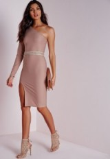 Taupe one shoulder long sleeve midi dress from Missguided ~ affordable luxe ~ luxury look ~ going out dresses ~ evening fashion