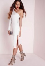 Missguided one shoulder zip detail midi dress in white. Going out glamour | glamorous party dresses | evening fashion