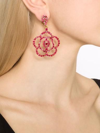 OSCAR DE LA RENTA pavé flower clip-on earrings in red. Designer fashion jewellery | large floral drop earrings | statement jewelry  #