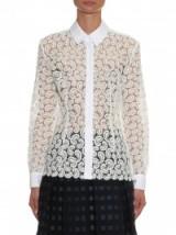 MARY KATRANTZOU Owena paisley macramé-lace blouse in white. designer blouses ~ womens luxury shirts ~ semi sheer clothing ~ luxe style tops ~ textured fabrics