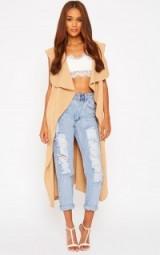 Pretty Little Thing Pari camel knit waterfall sleeveless cardigan. Long cardigans | longline style | womens knitwear | knitted fashion | autumn / winter