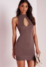 Missguided peep hole front racer mini dress in mauve. Short party dresses | night club fashion | evening glamour | going out