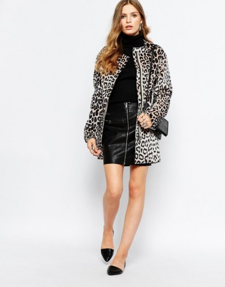 Pepe Jeans leopard print pony faux fur coat in beige. Autumn coats | animal printed fashion | womens outerwear