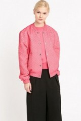 Peter Jensen – pink jacquard bomber jacket. Womens casual jackets | designer fashion