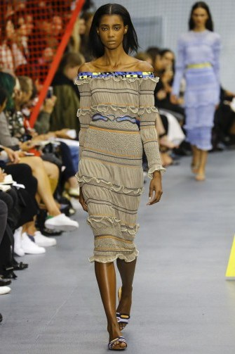 Peter Pilotto RTW S/S 2016 LFW . Designer fashion ~ spring-summer trends ~ ruffled dresses ~ ruffles ~ runway clothing ~ off the shoulder midi dress ~ seersucker fabric - flipped