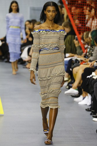 Peter Pilotto RTW S/S 2016 LFW . Designer fashion ~ spring-summer trends ~ ruffled dresses ~ ruffles ~ runway clothing ~ off the shoulder midi dress ~ seersucker fabric