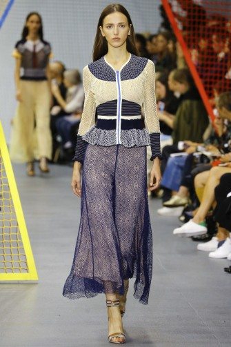 Peter Pilotto RTW S/S 2016 LFW. Runway fashion ~ peplum style tops ~ chantilly lace culottes ~ spring-summer trends ~ designer outfits