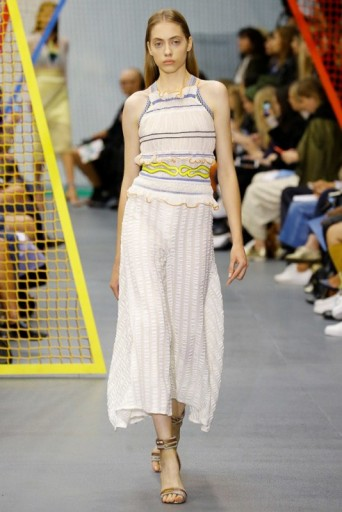 Peter Pilotto RTW S/S 2016 LFW. Spring-summer trends ~ runway fashion ~ designer clothing ~ seersucker skirts ~ ruffled tops