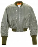3.1 PHILLIP LIM Cropped Bomber Jacket Khaki green. Womens jackets | casual outerwear | weekend fashion
