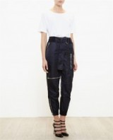 3.1 PHILLIP LIM Rib Trimmed Cargo Trousers in black. Womens designer fashion | casual tapered pants | casual luxe