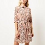 River Island pink snake print shirt dress. belted day dresses ~ womens fashion