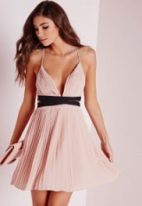 Missguided pleated V neck skater dress in nude. Pale pink fit and flare | strappy party dresses | plunging necklines | going out | evening fashion