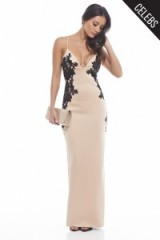 As seen on Casey Batchelor – AX Paris plunge front lace maxi dress in nude. Party fashion ~ plunging necklines ~ occasion wear ~ evening glamour ~ celebrity style ~ going out