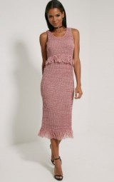 Pretty Little Thing Poesy mauve knitted tassel dress. Womens knitwear | sleeveless midi dresses