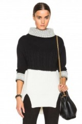 PRABAL GURUNG Nepalese cashmere bi colour sweater. Designer knitwear | black and white jumpers | womens knitted fashion | luxury chunky sweaters | autumn – winter clothing