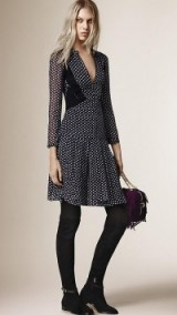 Burberry Prorsum printed silk dress with contrast panels navy ~ designer dresses ~ luxury fashion
