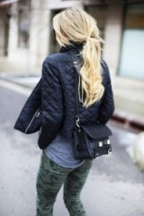 Love this cute look…quilted bomber, army leggings & satchel bag. Weekend jackets | keep it casual | style inspiration