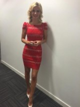 Rachel Riley looking fabulous with a dress on from Goddiva, rings on from Caroline Creba that are available from House Of Fraser and Amishi London, a bracelet from Carat London and finally earrings Dower And Hall