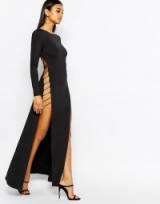 Rare London cut out maxi dress with strap back in black – as worn by Leigh-Anne Pinnock on Instagram, 24 September 2015. Celebrity fashion | long evening dresses | star style | what celebrities wear