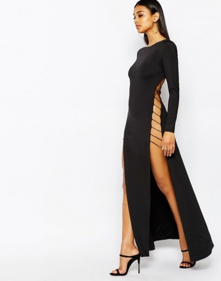 Rare London cut out maxi dress with strap back in black – as worn by Leigh-Anne Pinnock on Instagram, 24 September 2015. Celebrity fashion | long evening dresses | star style | what celebrities wear - flipped