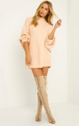 Pretty Little Thing Raysa nude oversized knitted jumper. Womens knitwear | chunky knits | autumn / winter sweaters