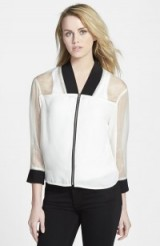 I love this White Rebecca Minkoff part sheer bomber jacket, it can be dressed up or down…it's quite chic really. Designer outerwear | weekend fashion | casual jackets