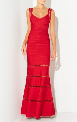 Herve Leger RILLA CROCHET CAGE STITCH GOWN in Lipstick Red – as worn by model Petra Nemcova at The Gala Dinner by Chopard in Prague, Czech Republic, 25 September 2015. Celebrity fashion   designer gowns   long occasion dresses   star style   what celebrities wear - flipped