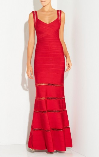 Herve Leger RILLA CROCHET CAGE STITCH GOWN in Lipstick Red – as worn by model Petra Nemcova at The Gala Dinner by Chopard in Prague, Czech Republic, 25 September 2015. Celebrity fashion | designer gowns | long occasion dresses | star style | what celebrities wear