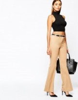 River Island belted tailored flare in camel. Flared pants | womens trousers | smart fashion | workwear | office clothing