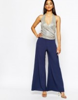River Island navy palazzo pant. Womens trousers | wide leg pants | going out fashion