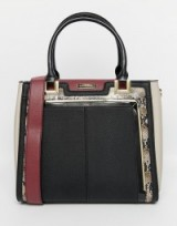 Luxe style handbag ~ River Island Snake Trim Tote Bag in black/oxblood. Chic looking bags ~ faux leather handbags