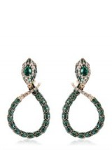 Sutnning Roberto Cavalli snake earings made with green and clear Swarovski crystals. Designer fashion jewellery | make a statement | occasion jewelry