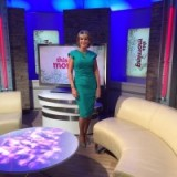 ITV's This Morning Ruth Langsford in a Diva Catwalk green dress, wearing Dune London shoes and earrings from Accessorize #goodlook