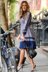 Sarah Jessica Parker street style in NYC – blue floral print chiffon dress and SJP Ursula Iridescent Fabric Sandals, available from neimanmarcus.com. Celebrity fashion | outfits | ankle strap shoes