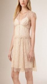 Burberry Prorsum scallop trim lace dress in stone ~ luxury dresses ~ designer fashion