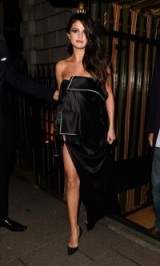 Star style…Selena Gomez steps out in a black strapless Monse gown, at Annabel's for an intimate dinner and exclusive performance of her new song, 24 September 2015. Celebrity fashion / designer dresses / celebrities out and about #