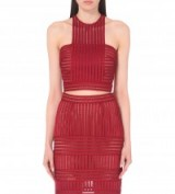 SELF-PORTRAIT Striped-mesh cropped top in Burgundy – as worn by Adriana Lima at the Maybelline New York's Fashion Week party, 13 September 2015. Celebrity fashion | what celebrities wear | designer crop tops | matching sets | star style