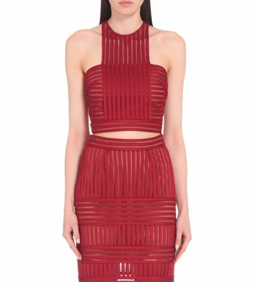 SELF-PORTRAIT Striped-mesh cropped top in Burgundy – as worn by Adriana Lima at the Maybelline New York's Fashion Week party, 13 September 2015. Celebrity fashion | what celebrities wear | designer crop tops | matching sets | star style - flipped