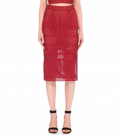 SELF-PORTRAIT Striped-mesh pencil skirt in Burgundy – as worn by Adriana Lima at the Maybelline New York's Fashion Week party, 13 September 2015. Celebrity fashion | what celebrities wear | designer skirts | matching sets | star style - flipped