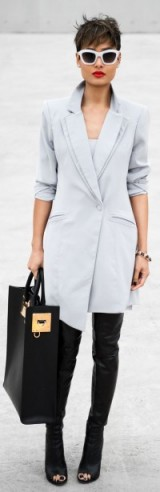 Street style luxe – pale blue asymmetric tuxedo style coat, peep toe thigh high leather boots & Sophie Hulme black & gold leather tote bag. Bag available from liberty.co.uk. Luxury looks / outfits