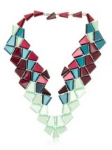 I love this bold necklace from Silvis Rossi, with pieces of geometric coloured pexiglas in various green and pink tones. Statement jewellery | designer fashion necklaces