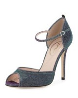 SJP by Sarah Jessica Parker Ursula Iridescent Fabric Sandal, Glow/Teal. Celebrity style | high heels | ankle strap shoes | womens footwear