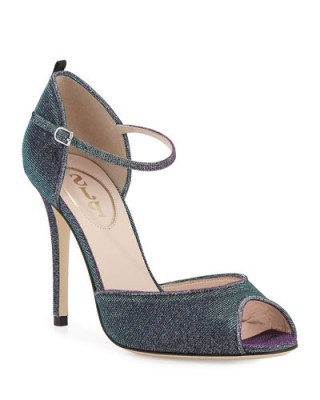SJP by Sarah Jessica Parker Ursula Iridescent Fabric Sandal, Glow/Teal. Celebrity style | high heels | ankle strap shoes | womens footwear - flipped