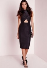 Missguided sleeveless cut out midi dress in black. Going out glamour | evening dresses | glamorous party dresses | LBD