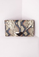 Missguided snake metal trim envelope clutch. Animal prints | gold chain strap shoulder bags | on-trend handbags | womens affordable accessories