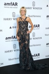 Heidi Klum wearing a semi sheer Atelier Versace lace gown, attending the amfAR Milano Gala on 26 Sept 2015, Milan, Italy. Celebrity style / MFW events / designer gowns  #