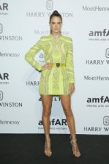 Model Alessandra Ambrosio wore a lemon sequin embellished Dsquared2 mini dress to the amfAR Milano Gala on 26 Sept 2015, Milan, Italy. Designer dresses / celebrity style / MFW events  #